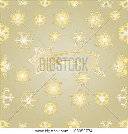 Seamless Texture Christmas Comet And Snowflakes Gold  Background Vector