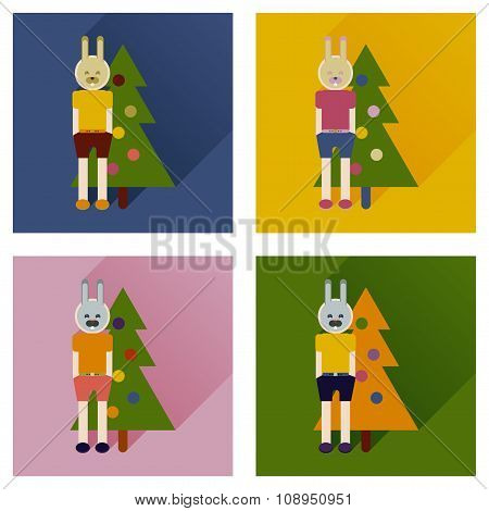 Set of flat icons with long shadow Christmas carnival