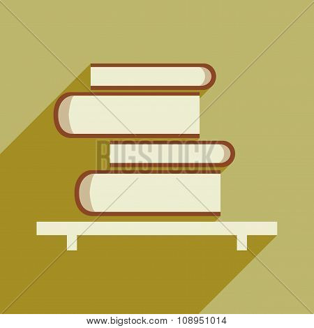Flat with shadow icon and mobile application book shelf