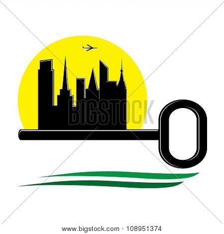 logo real estate, key and silhouette of buildings