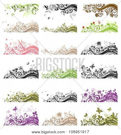Collection of vintage floral borders