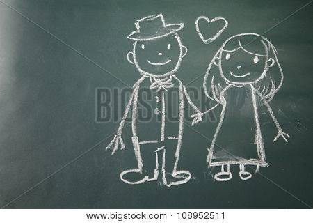 drawing on the chalkboard husband and wife in love