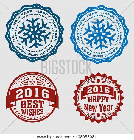 A set of four New Year round stamps