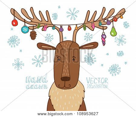Deer with a garland on the horns