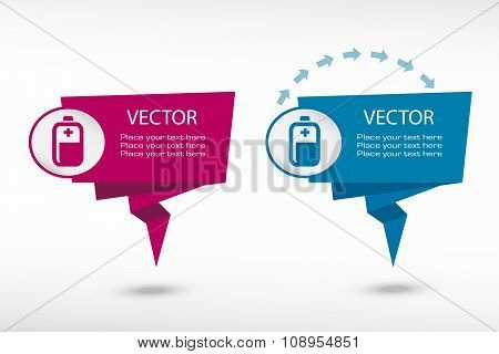 Battery Icon On Origami Paper Speech Bubble Or Web Banner, Prints