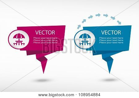 Camping And Picnic Table Icon On Origami Paper Speech Bubble Or Web Banner, Prints