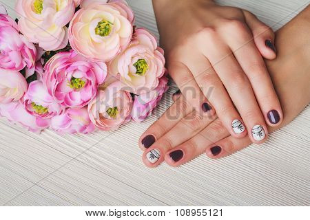 Violet Nail Art With Printed White Bow