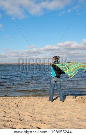 Joyful Happy Woman Having Fun, Playing With A Veil In The Wind