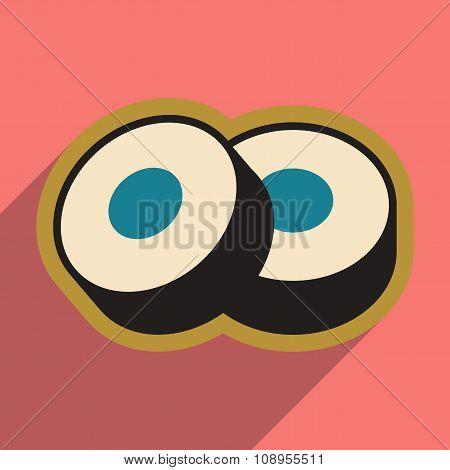 Flat with shadow icon Sushi rolls stylish background