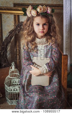 Small Beautiful Girl Dressed In Retro Style