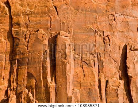 Giant Sandstone Formation In The Monument Valley In The Intensive Afternoon Light