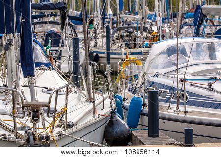 Close Up Of Sailing Yachts In A Marina