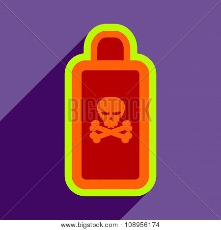Flat with shadow Icon of poison on a colored background