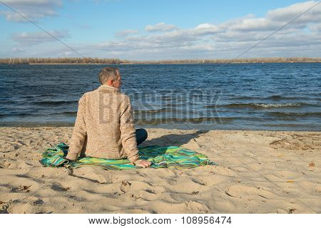 Dreaming Man, Wearing Casually,sitting On The Coast