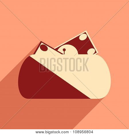 Modern flat icon with shadow purse and money