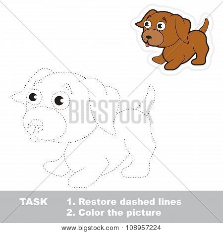 Vector trace game. Little dog to be traced.