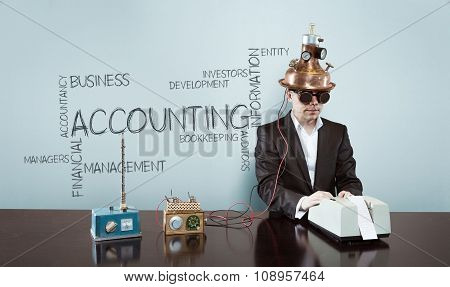 Accounting concept with vintage businessman and calculator