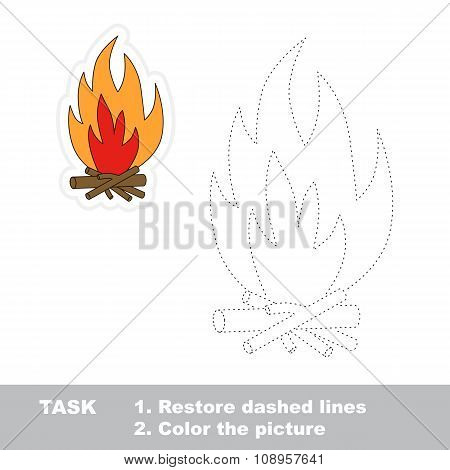 Vector trace game. bonfire to be traced.