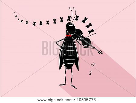 logo music, funny grasshopper with violin and notes