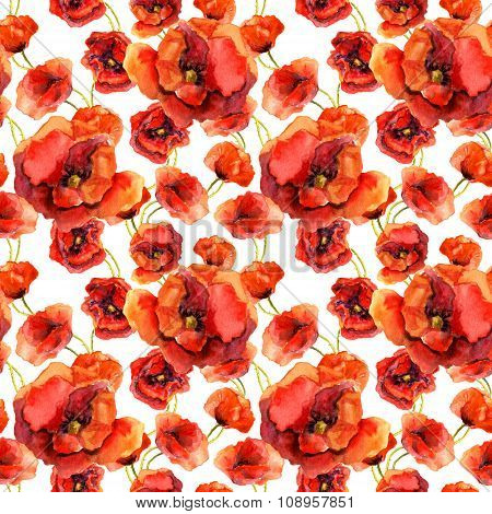 Seamless floral wallpaper with colorful poppies. Watercolor painting