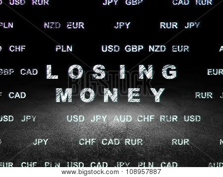 Currency concept: Losing Money in grunge dark room