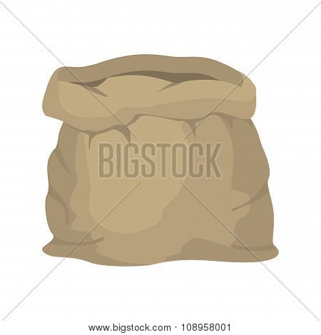 Empty Burlap Sack. Empty Bag. Bag Made Of Cloth. Beige Bag On  White Background.