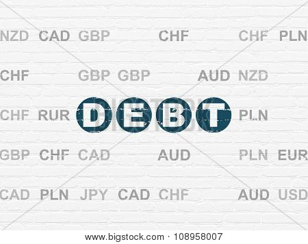 Banking concept: Debt on wall background