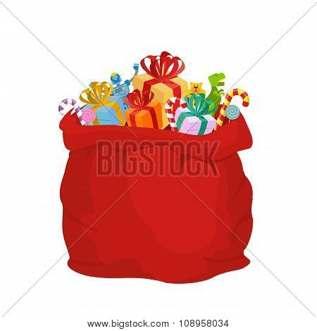 Bag With Gifts Santa Claus. Big Red Festive Holiday Bag. Many Gifts For Kids: Dinosaur And Robot Bea