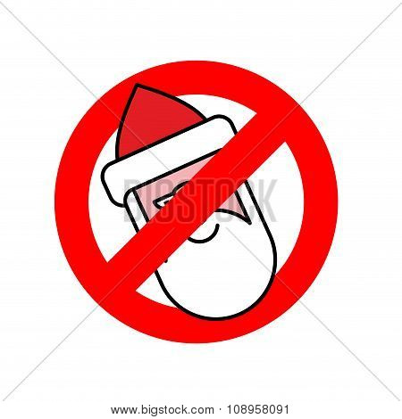 Stop Santa Claus. Ban For Christmas. Ban For Santa With Beard. Red Forbidding Character.