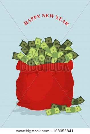 Happy New Year. Big Bag Full Of Money. Holiday Gift Bag With Cash From Santa. Best Gift For Any Man.