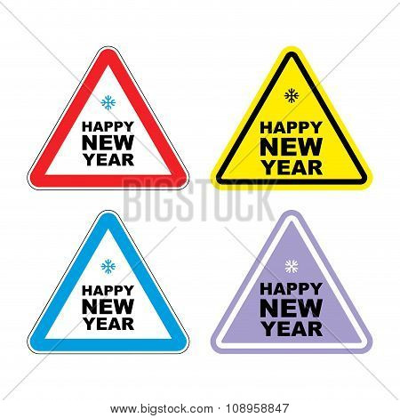 Attention Happy New Year. Sign Warning Holiday. Color Label For Christmas And New Year.