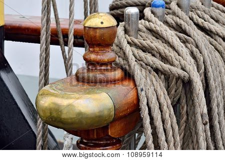 Rigging Of A Sailing Ship Closeup