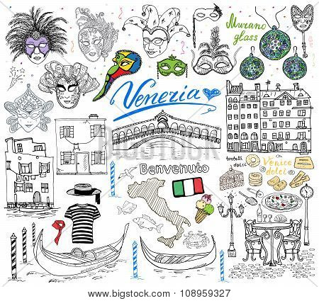 Venice Italy Sketch Elements. Hand Drawn Set With Flag, Map, Gondolas Gondolier Clouth , Houses, Piz