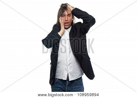 Tired brunette man touching his head