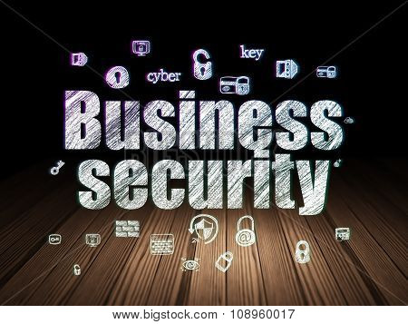 Protection concept: Business Security in grunge dark room