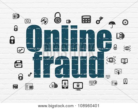 Protection concept: Online Fraud on wall background