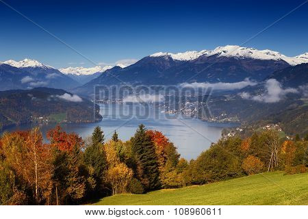 Autumn morning view on Lake Millstatt in Austria