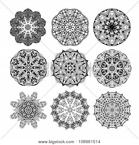 Mandala set. Floral ethnic abstract decorative ornament