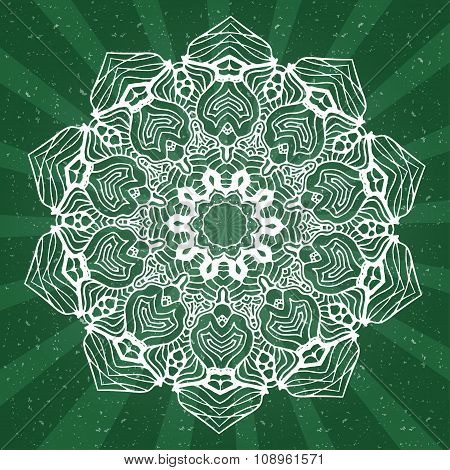 Abstract Design Black White Element. Round Mandala In Vector. Graphic Template For Your Design. Circ