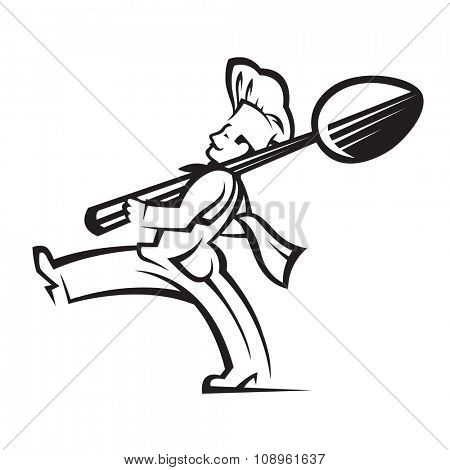 monochrome illustration of chef with spoon in hand