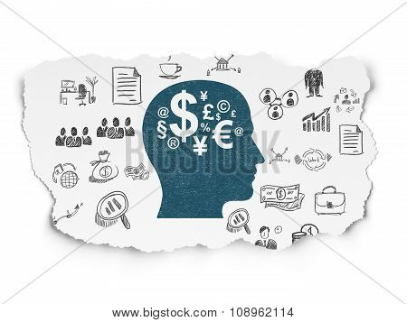 Finance concept: Head With Finance Symbol on Torn Paper background