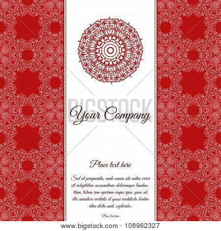 Abstract Template Of Card. Frame Pattern Invitation With Place For Text. Lace Ornament, Mandala. Ara