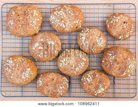 Freshly Baked The Whole Grain Bread Rolls.
