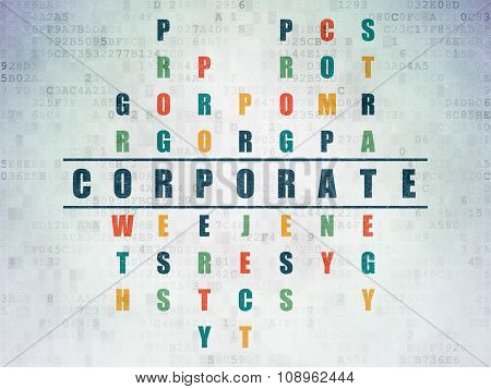 Finance concept: Corporate in Crossword Puzzle