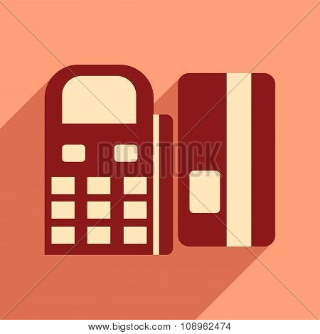 Modern flat icon with shadow bank card and the terminal