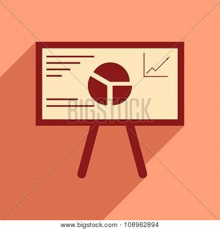 Modern flat icon with shadow chart diagram presentation