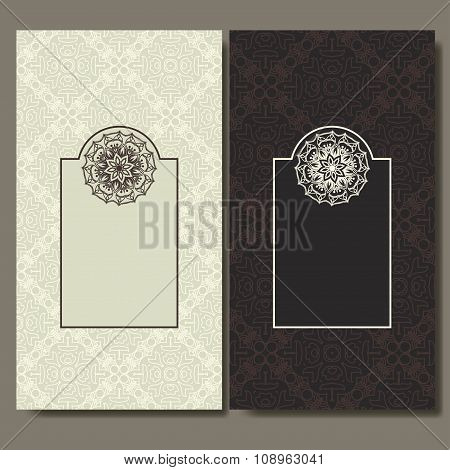 Set of cards. Ornate design can used for invitation, greeting or business card. Template for your de