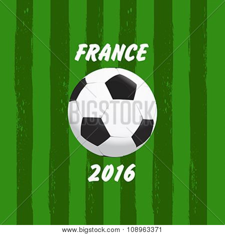 Euro 2016 France football championship with soccer ball vector illustration