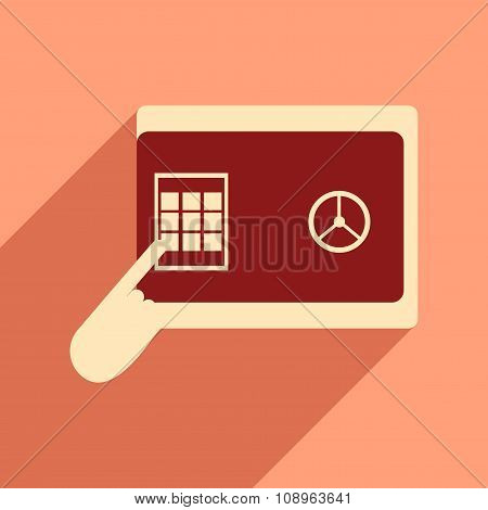 Flat design modern vector illustration icon safe PIN hand