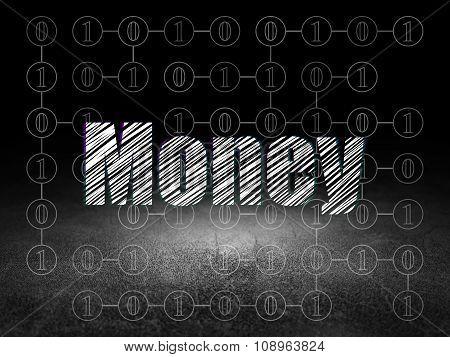 Business concept: Money in grunge dark room